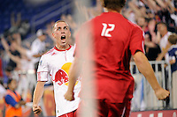 Corey Hertzog (6) of the New York Red Bulls celebrates scoring with Tyler Lassiter (12). The New York Red Bulls defeated FC New York 2-1 during a third round match of the 2011 Lamar Hunt US Open Cup at Red Bull Arena in Harrison, NJ, on June 28, 2011.