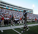 Mississippi's Brandon Bolden (34) walks off the field following a loss against Jacksonville State at Vaught-Hemingway Stadium in Oxford, Miss. on Saturday, September 4, 2010. Jacksonville State won 49-48 in double overtime. (AP Photo/Oxford Eagle, Bruce Newman)