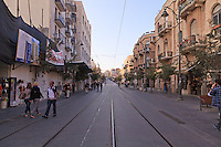 Tracks for Jerusalem's light rail system on Jaffa Street in downtown Jerusalem.