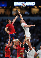 Alexandre Flanquart of France competes with George Kruis of England for the ball at a lineout. QBE International match between England and France on August 15, 2015 at Twickenham Stadium in London, England. Photo by: Patrick Khachfe / Onside Images