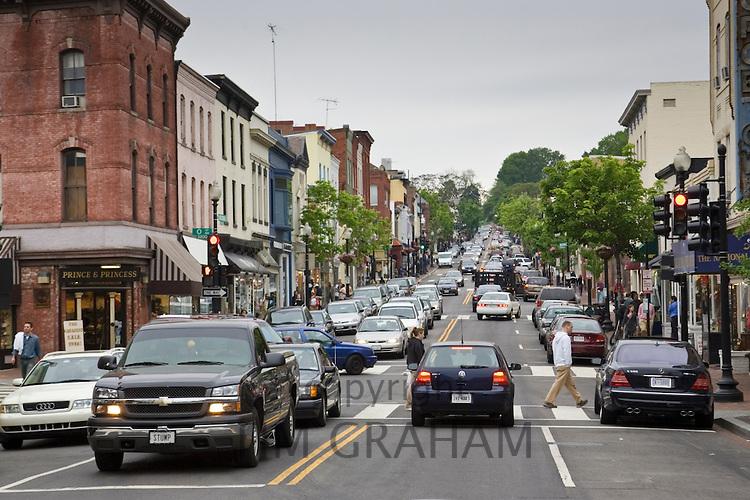Busy street in Georgetown, Washington DC, USA