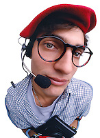 Nerdy worker with headset.