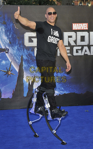 LONDON, ENGLAND - JULY 24: Vin Diesel attends the 'Guardians Of The Galaxy' UK film premiere, The Empire cinema, Leicester Square, on Thursday July 24, 2014 in London, England, UK. <br /> CAP/CAN<br /> &copy;Can Nguyen/Capital Pictures