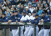 04 October 2009: Seattle Mariners designated hitter Ken Griffey Jr (center) watches from the dugout with teammates during the game against Texas. Seattle won 4-3 over the Texas Rangers at Safeco Field in Seattle, Washington.
