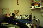87 year old retired fisherman in Hessell, south Hull, Humberside in his living room England UK circa 1985