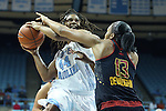 03 January 2013: North Carolina's Tierra Ruffin-Pratt (44) and Maryland's Alicia DeVaughn (13). The University of North Carolina Tar Heels played the University of Maryland Terrapins at Carmichael Arena in Chapel Hill, North Carolina in an NCAA Division I Women's Basketball game. UNC won the game 60-57.