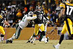 PITTSBURGH, PA - JANUARY 23: Ben Roethlisberger #7 of the Pittsburgh Steelers is tackled by Shaun Ellis #92 of the New York Jets in the AFC Championship Playoff Game at Heinz Field on January 23, 2011 in Pittsburgh, Pennsylvania. The Steelers defeated the Jets 24 to 19. (Photo by: Rob Tringali) *** Local Caption *** Ben Roethlisberger;Shaun Ellis