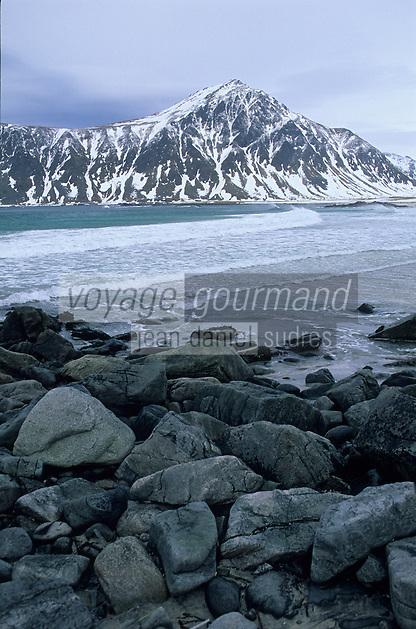 Europe/Norvège/Iles Lofoten/Env de Flakstad : Plage