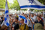 2013-08-03, Berlin. About 800 people took to the streets to demonstrate against the state of Israel.<br /> <br /> The International Quds day rallies were introduced in Iran by the Ayatollah Khomeini in 1979 and are commemorated on the last Friday of Ramadan, expressing solidarity with the Palestinian people and opposing Zionism as well as Israel's control of Jerusalem. The Quds rally was accompanied by an anti-Quds-demonstration initiated by the Jewish community and other pro-Israeli groups.