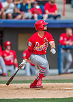 13 March 2016: St. Louis Cardinals infielder Greg Garcia, ranked the 23rd Top Prospect in the Cardinals organization for 2016 by MLB, in action during a pre-season Spring Training game against the Washington Nationals at Space Coast Stadium in Viera, Florida. The teams played to a 4-4 draw in Grapefruit League play. Mandatory Credit: Ed Wolfstein Photo *** RAW (NEF) Image File Available ***
