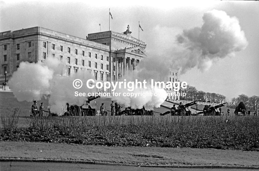 The anniversary of the accession of Queen Elizabeth II is marked by a 21 gun salute at Parliament Buildings, Stormont, Belfast, N Ireland, 6th February 1974. 197402060058e<br /> <br /> Copyright Image from Victor Patterson, 54 Dorchester Park, Belfast, UK, BT9 6RJ<br /> <br /> Tel: +44 28 9066 1296<br /> Mob: +44 7802 353836<br /> Voicemail +44 20 8816 7153<br /> Skype: victorpattersonbelfast<br /> Email: victor@victorpatterson.com<br /> Email: victorpatterson@me.com (back-up)<br /> <br /> IMPORTANT: If you wish to use this image or any other of my images please go to www.victorpatterson.com and click on the Terms &amp; Conditions. Then contact me by email or phone with the reference number(s) of the image(s) concerned.