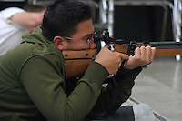 Friday, May 2nd 2008.  Point Loma High School San Diego, CA, USA. Sean Spratt of the Point Loma High School Junior ROTC takes aim during target practice with an air rifle at the high schools firing range.