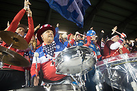 SAN JOSE, CA - March 24, 2017: US Soccer fans bang drums at the CONCACAF World Cup Qualifier game between the USA and Honduras at Avaya Stadium.
