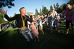 A member of the Michael Jackson tribute band, Foreverland, woos the audience with his charm during the inaugural Summer Concert Series show at Hillview Soccer Field in Los Altos, CA.