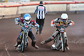 Heat 7: Robson (blue) and Klindt - Lakeside Hammers vs Wolverhampton Wolves - Sky Sports Elite League Speedway at Arena Essex Raceway, Purfleet - 24/05/10 - MANDATORY CREDIT: Gavin Ellis/TGSPHOTO - Self billing applies where appropriate - Tel: 0845 094 6026