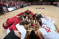 STANFORD, CA - December 29, 2012:  Erica Payne leads the team huddle before Stanford's game against Connecticut at Maples Pavilion in Stanford, California.  UConn defeated the Cardinal 61-35.