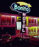 Bonito Motel Wildwood,NJ. Large Neon Sign & Colored Lights by the Rooms. 1960's