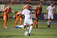 HEMPSTEAD, NY – OCTOBER 12: Marcos Senna of the New York Cosmos takes a penalty kick against the Carolina RailHawks during an NASL match on October 12, 2013 at  Shuart Stadium in Hempstead, New York.
