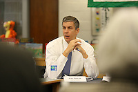 Arne Duncan Secretary Of Education spoke with city school officials in Charlottesville, Virginia.  Photo by Andrew B. Shurtleff.