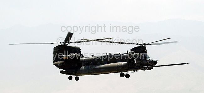 CHINOOK FLYING OVER AFGHANISTAN..PICTURE: HELEN ATKINSON..