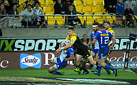 Jordie Barrett wraps up Nizaam Carr before stealing the ball to score during the Super Rugby match between the Hurricanes and Stormers at Westpac Stadium in Wellington, New Zealand on Friday, 5 May 2017. Photo: Dave Lintott / lintottphoto.co.nz