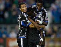 Simon Dawkins of Earthquakes celebrates with teammates after scoring a goal during the game against Rapids at Buck Shaw Stadium in Santa Clara, California on August 25th, 2012.   San Jose Earthquakes defeated Colorado Rapids, 4-1.
