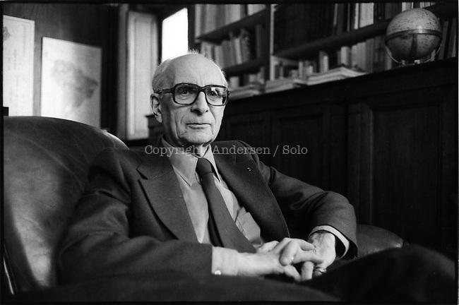 Claude Lévi Strauss in his office at Collège de France, Paris.