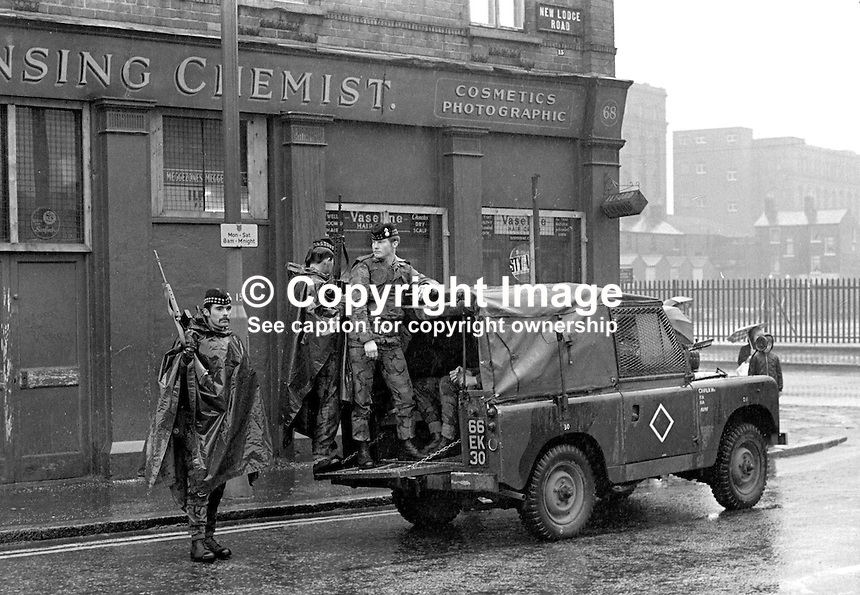 British army mobile patrol, New Lodge Road, North Belfast, N Ireland, 197104240196a..Copyright Image from Victor Patterson, 54 Dorchester Park, Belfast, UK, BT9 6RJ..Tel: +44 28 9066 1296.Mob: +44 7802 353836.Voicemail +44 20 8816 7153.Skype: victorpattersonbelfast.Email: victorpatterson@me.com.Email: victorpatterson@ireland.com (back-up)..IMPORTANT: If you wish to use this image or any other of my images please go to www.victorpatterson.com and click on the Terms & Conditions. Then contact me by email or phone with the reference number(s) of the image(s) concerned.