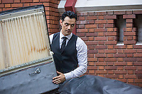 """Steven Cabral as Raymond Collins, the Funeral Director, in ABC Family's """"Ravenswood""""."""