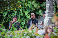Pipeline, North Shore of Oahu, Hawaii Friday December 19 2014) Kelly Slater (USA) with Jon Pyzel (HAW) and Travis Lee (USA) moments after being eliminated from the 2014 world title race.- The final stop of the 2014  World Championship Tour, the Billabong Pipe Masters in Memory of Andy Irons, was  ccompleted today in NW double overhead surf. <br /> Gabriel Medina (BRA) became the first ever Brazilian World Champion after both rival contenders , Kelly Slater (USA) and Mick Fanning (AUS) were eliminated from the contest. Medina went onto finish 2nd overall behind Julian Wilson (AUS). <br /> In the overlapping heat format Wilson surf three consequent heats and still had enough entry to take out the 30 minute final.<br /> By winning the final Wilson also won the covered Vans Triple Crown of Surfing for best overall performance through the whole Triple Crown.<br /> <br /> The Billabong Pipe Masters in Memory of Andy Irons will determine this year&rsquo;s world surfing champion as well as those who qualify for the elite tour in 2015. As the third and final stop on the Vans Triple Crown of Surfing Series  the event will also determine the winner of the revered three-event leg.<br /> <br />  Photo: joliphotos.com
