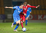 St Johnstone v Aberdeen....02.03.11 .Danny Invincibile and Sone Aluko.Picture by Graeme Hart..Copyright Perthshire Picture Agency.Tel: 01738 623350  Mobile: 07990 594431