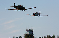 Two historic North American Harvard performs a display at Rygge Airshow. Norway
