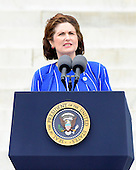 Lynda Bird Johnson Robb, daughter of former United States President Lyndon B. Johnson, makes remarks at the Let Freedom Ring ceremony on the steps of the Lincoln Memorial to commemorate the 50th Anniversary of the March on Washington for Jobs and Freedom<br /> Credit: Ron Sachs / CNP