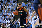 18 February 2017: Virginia's Devon Hall. The University of North Carolina Tar Heels hosted the University of Virginia Cavaliers at the Dean E. Smith Center in Chapel Hill, North Carolina in a 2016-17 Division I Men's Basketball game. UNC won the game 65-41.