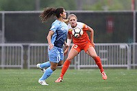 Piscataway, NJ - Saturday May 20, 2017: Raquel Rodriguez, Cami Privett during a regular season National Women's Soccer League (NWSL) match between Sky Blue FC and the Houston Dash at Yurcak Field.  Sky Blue defeated Houston, 2-1.