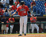 Mississippi's Taylor Hashman (27) drives in Matt Smith (16) with an RBI single in the 7th inning vs. South Carolina during the Southeastern Conference tournament at Regions Park in Hoover, Ala. on Wednesday, May 26, 2010. Ole Miss won 3-0.