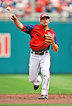 29 May 2011: Washington Nationals infielder Danny Espinosa warms up prior to a game against the San Diego Padres at Nationals Park in Washington, District of Columbia. The Padres defeated the Nationals 5-4 to take the rubber match of their 3-game series. Mandatory Credit: Ed Wolfstein Photo