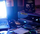 WARSAW, POLAND, NOVEMBER 2011:.Audio and computer equipment of Wika Szmyt, a 74 year old DJ..Wika is famous in Poland for being the oldest DJ. Twice a week she runs discos at the Bolek club in Warsaw, frequented mainly by the pensioners..(Photo by Piotr Malecki/Napo Images)..WARSZAWA, LISTOPAD 2011:.DJ Wika prowadzi dyskoteke w klubie Bolek. Wika Szmyt, 74-letnia DJ jest znana jako najstarsza didzejka w Polsce. Dwa razy w tygodniu prowadzi dyskoteki w klubie Bolek, na ktore przychodza glownie emeryci..Fot: Piotr Malecki/Napo Images.***ZAKAZ PUBLIKACJI W TABLOIDACH I PORTALACH PLOTKARSKICH*** .*** Zdjecie moze byc uzyte w prasie, gdy sposob jego wykorzystania oraz podpis nie obrazaja osob znajdujacych sie na fotografii ***.