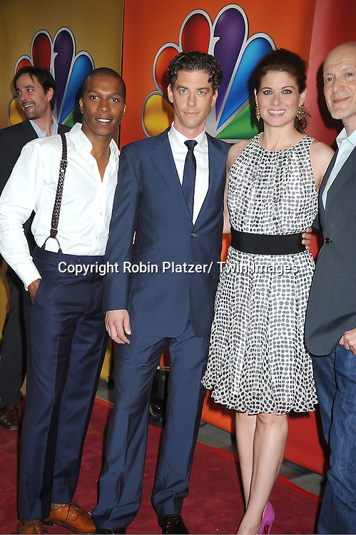 """Leslie Odom, Jr, Christian Borle and Debra Messing of """"Smash"""" attends the NBC Upfront Presentation of 2012-2013 Season at Radio City Music Hall on May 14, 2012 in New York City."""