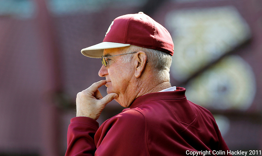 TALLAHASSEE, FL 2/12/10-FSUBASE 021211 CH-Florida State Head Coach Mike Martin watches his team during the Fan Day scrimmage Saturday at the Dick Howser Stadium in Tallahassee...COLIN HACKLEY PHOTO