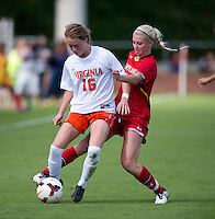Emily Sonnett (16) of Virginia fights for the ball with Ashley Spivey (8) of Maryland during the game at Klockner Stadium in Charlottesville, VA.  Virginia defeated Maryland, 1-0.