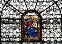 St Anne, stained glass window, Chapelle Sainte Anne (Chapel of St Anne), Eglise Saint-Sulpice (St Sulpitius' Church), c.1646-1745, late Baroque church on the Left Bank, Paris, France. Picture by Manuel Cohen