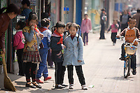 Children in Hong Ying Road, Xian. China has a one child family planning policy to limit population.