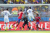 Daniel Sturridge of England heads a chance at goal