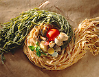 Top shot of green & Egg Tagliatelli pasta with clams Tomato and garlic ingredients