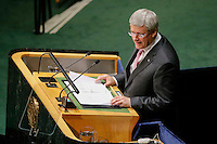 New York City, NY. 25 September 2014. Prime Minister of Canada Stephen Harper attends the 69th United Nations General Assembly at United Nations Headquarters.  Photo by Kena Betancur/VIEWpress