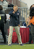 03 June 2012:  US Men's National Soccer Team head coach Jurgen Klinsmann shouts out instructions during an international friendly soccer match between the United States Men's National Soccer Team and the Canadian Men's National Soccer Team at BMO Field in Toronto.