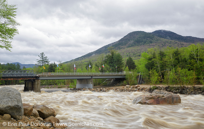East Branch of the Pemigewasset River in Lincoln, New Hampshire USA near the entrance to Loon Mountain during the spring months after heavy rains