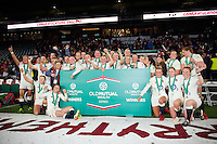 The England Women celebrate the win after the match. Old Mutual Wealth Series International match between England Women and Canada Women on November 26, 2016 at Twickenham Stadium in London, England. Photo by: Patrick Khachfe / Onside Images