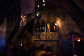 Orlando, Florida<br /> Universal Studios<br /> August 13, 2013<br />  <br /> Universal Studios - Hogwarts Harry Potter castle. Harry Potter, Hermione and Ron address tourists via a video as they pass through the rooms.